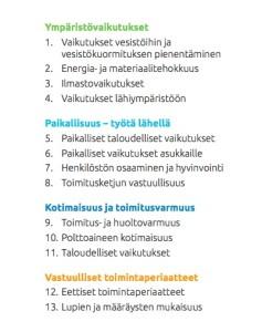 Vapo olennaiset lista